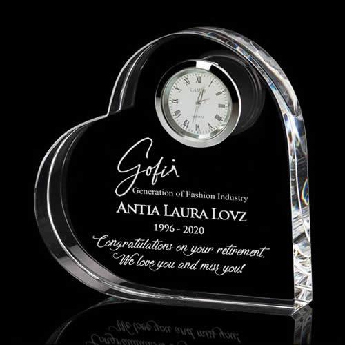 heart crystal clock award