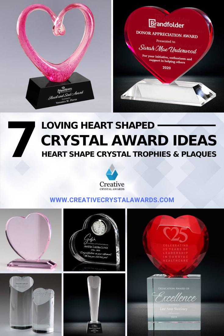 heart shaped crystal awards