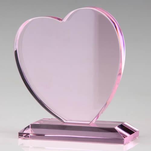 pink heart crystal plaque award