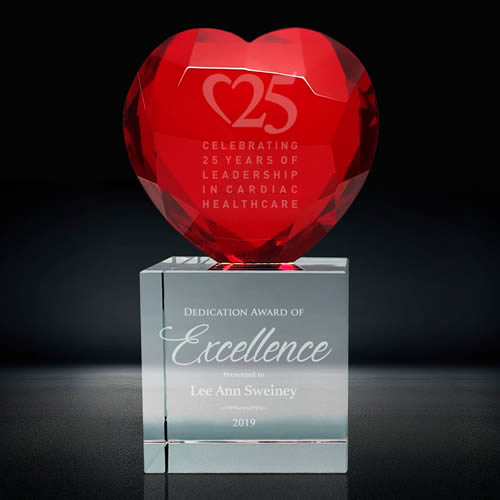 red crystal heart trophy award