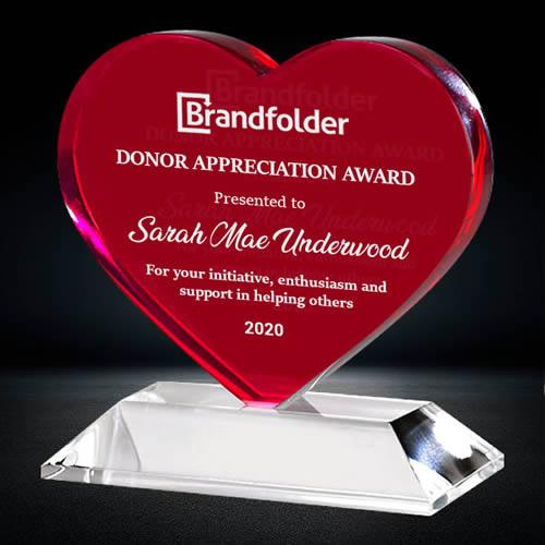 red heart crystal award