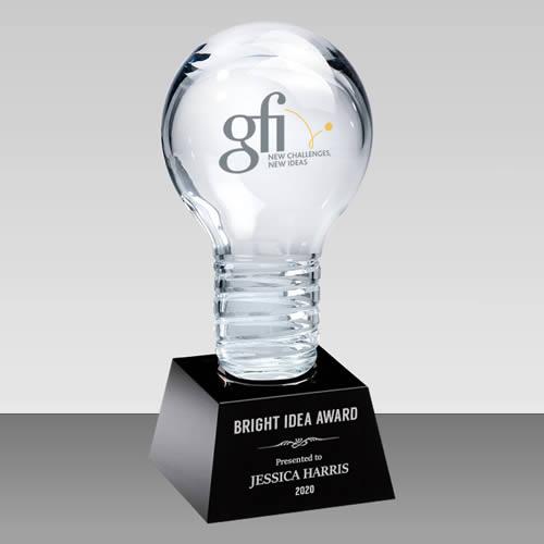 3d light bulb crystal award