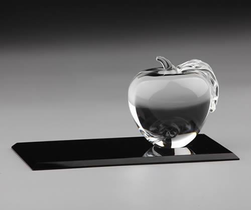 clear crystal apple on flat crystal base