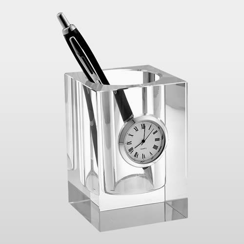crystal desktop pen holder with clock
