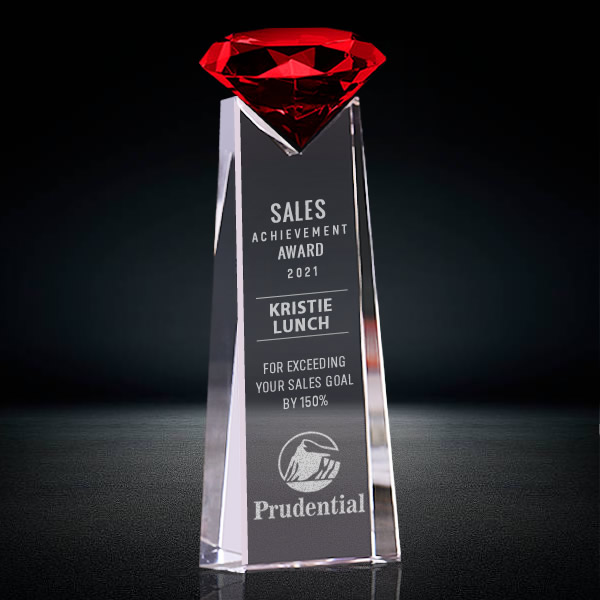 red crystal diamond tower trophy