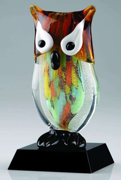 colored art glass owl statue decorative glass centerpiece
