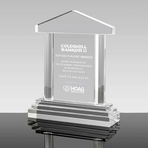 crystal house shaped award plaque