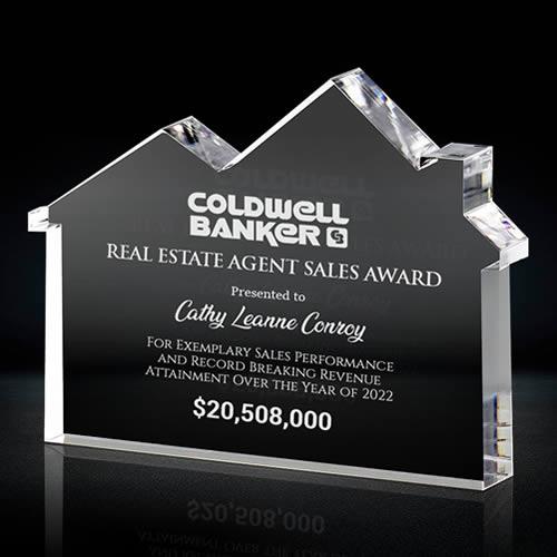 crystal real estate plaque award
