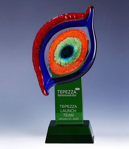 decorative art glass eye centerpiece