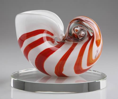 decorative art glass sea shell sculpture centerpiece