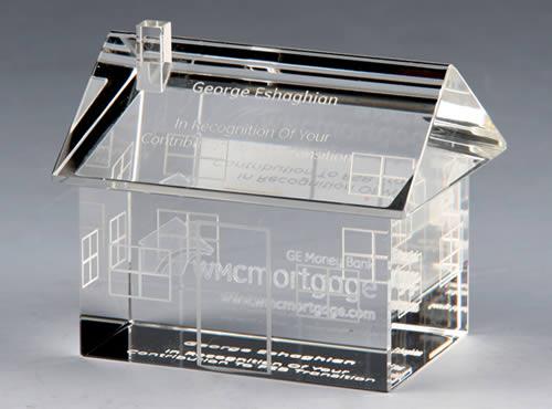 house shape crystal award