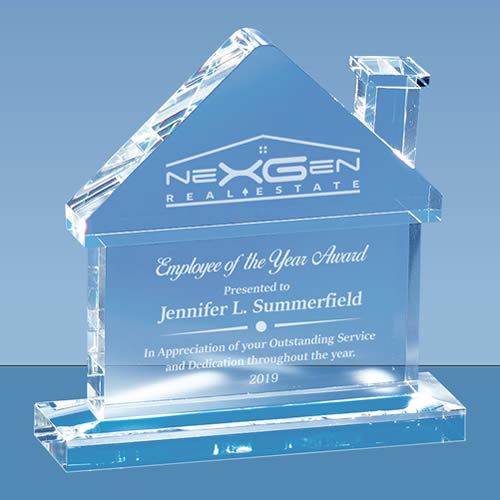 house shape crystal real estate plaque