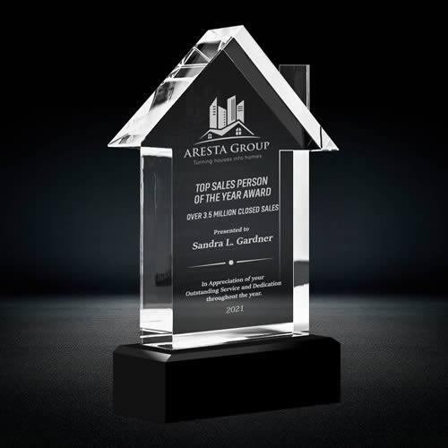 house shape crystal trophy