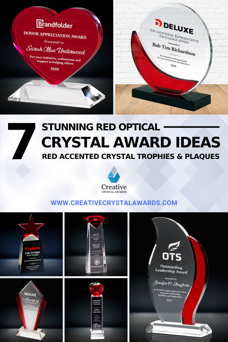 red crystal awards and red crystal trophies
