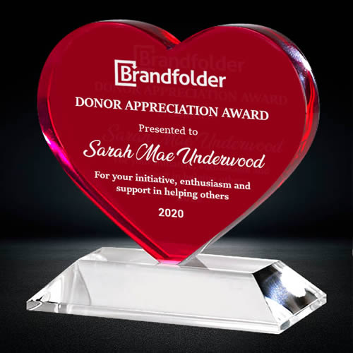 red crystal heart shape award