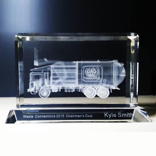 3d laser engraved crystal garbage truck award
