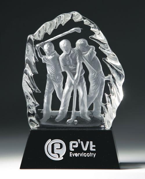 3d laser etched three golfers iceberg golf crystal award