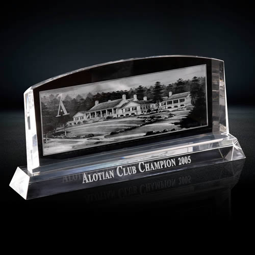 3d photo engraved crystal plaque award