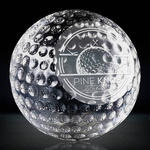 golf ball crystal paperweight