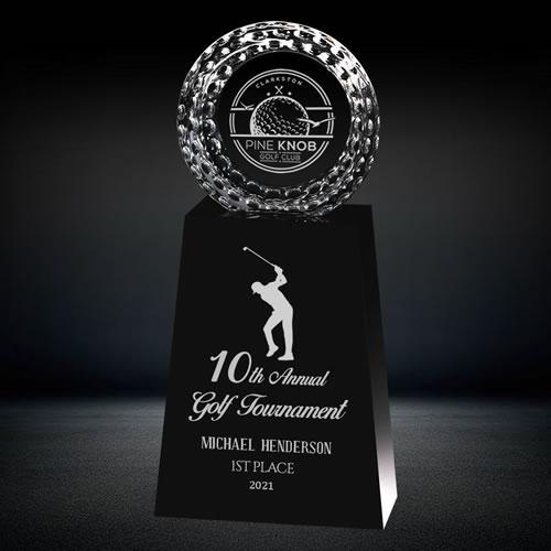 heavy crystal golf ball trophy award