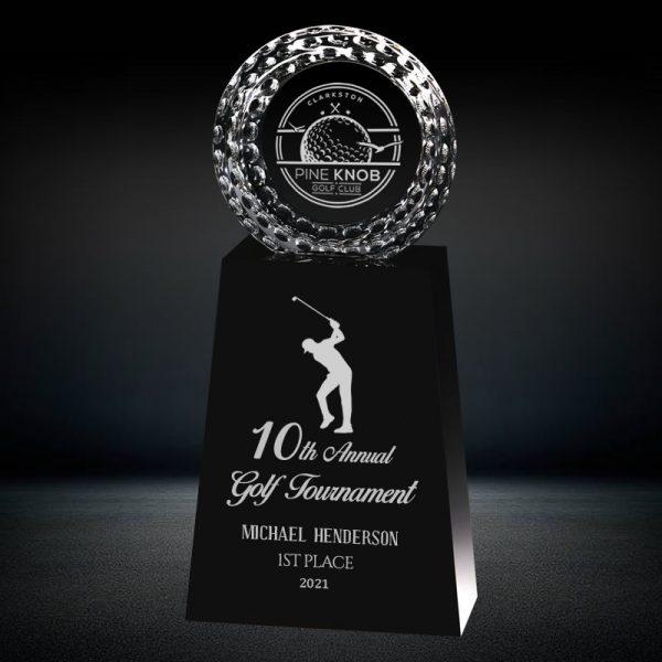 optical crystal golf trophy