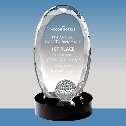 multifaceted crystal golf oval trophy