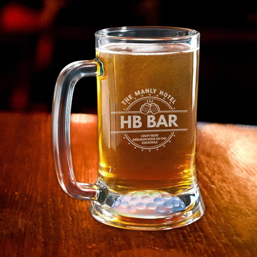 personalized crystal golf ball beer tankard