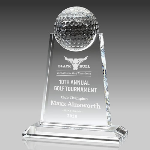 personalized crystal plaque with crystal golf ball