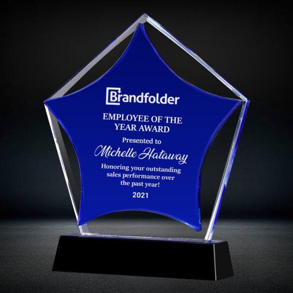 blue crystal pentagon star award