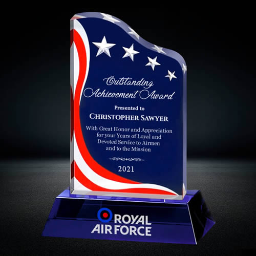 sublimation crystal American flag award