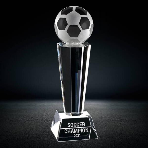 sports crystal soccer ball trophy