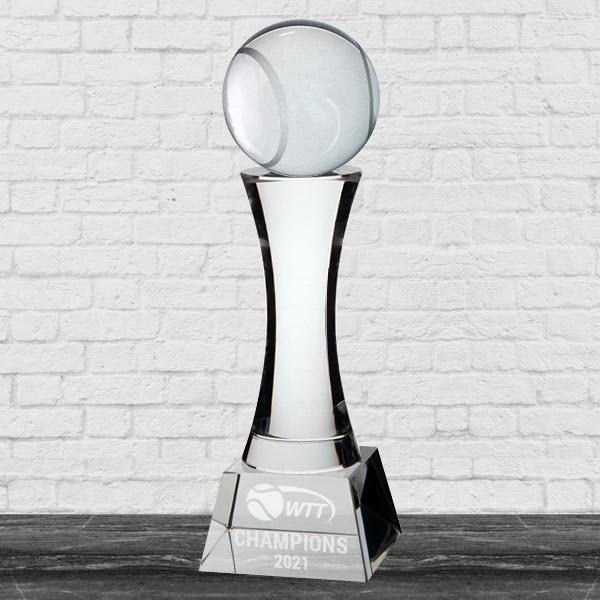 crystal tennis ball trophy