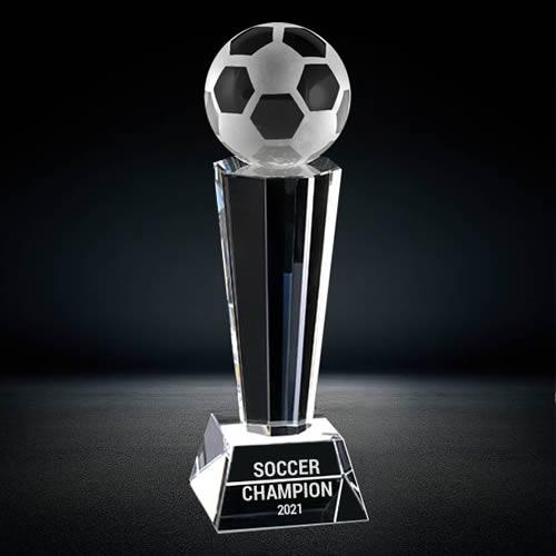 soccer ball crystal trophy award