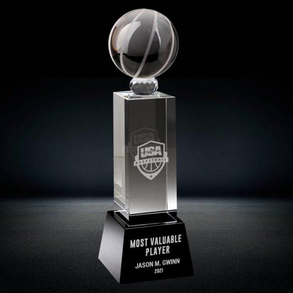 crystal basketball trophy