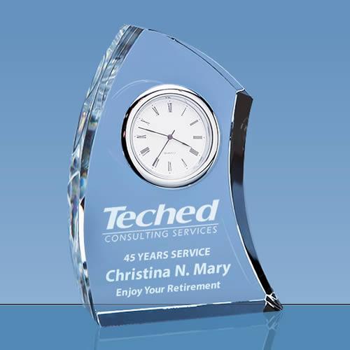 crystal desk clock award