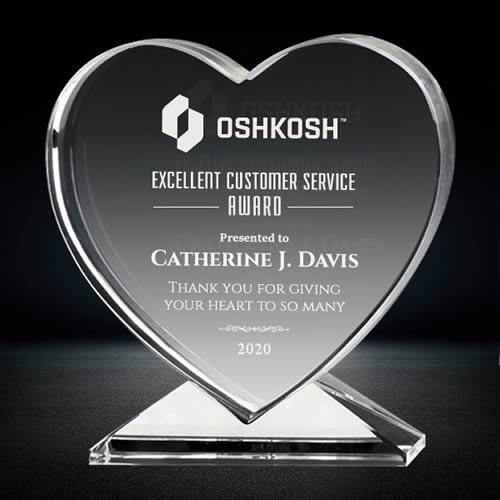 crystal heart shape plaque award