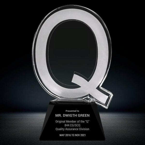 crystal letter Q award
