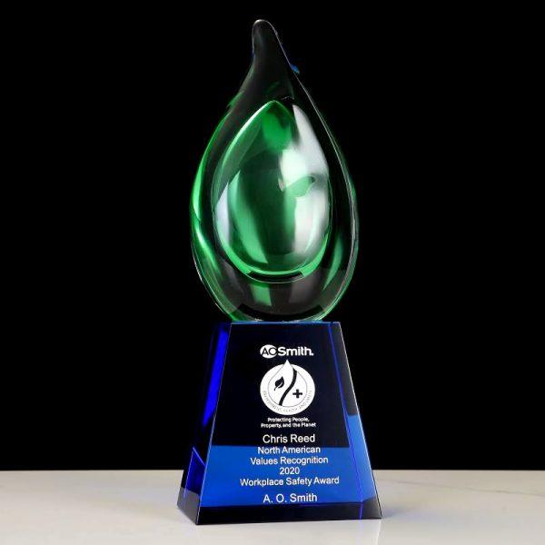 green drop art glass trophy award